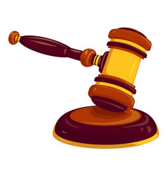 wood gavel icon cartoon style vector image