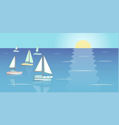 Yachts regatta banner horizontal cartoon style vector