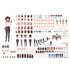 young trendy woman or girl construction kit or vector image
