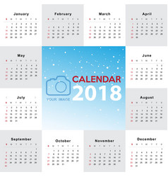 calendar 2017 template design week starts from vector image vector image