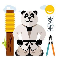 karate panda flat style colorful cartoon vector image vector image