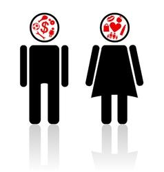 man woman mind vector image