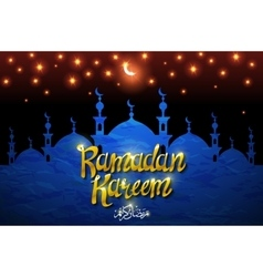 Ramadan Kareem backgroundMosque window with shiny vector image vector image
