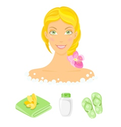 Sauna girl and beauty care icons vector image vector image
