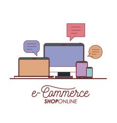 e-commerce shop online set tech elements on white vector image