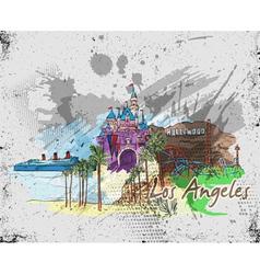 los angeles doodles vector image vector image