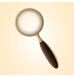 Old magnifying glass with wooden handle on a light vector image