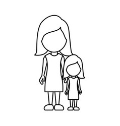silhouette woman with her daughter icon vector image
