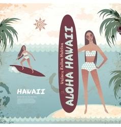 Vintage banner of Hawaiian island with a surf girl vector image vector image