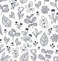 Black and white decorative floral seamless pattern vector