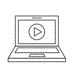 laptop technology play video button app vector image