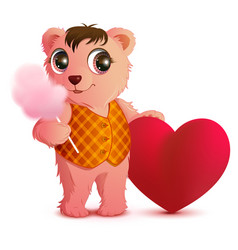 pink fun bear holds sweet cotton wool and heart vector image vector image