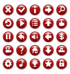 Red game buttons set vector image