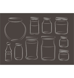 Set of empty jars vector