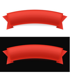 shiny red ribbon on white and black background vector image vector image