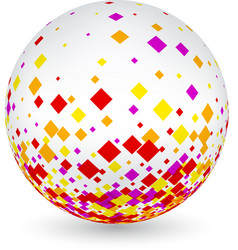 white ball with colorful rhombs vector image