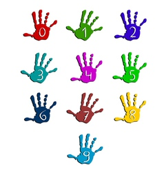 Colorful hand numbers vector image