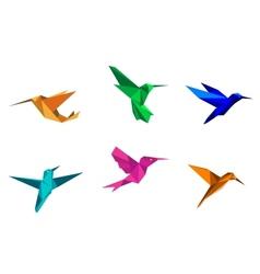 Origami hummingbirds vector image vector image
