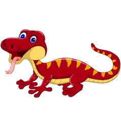 red gecko cartoon posing vector image vector image
