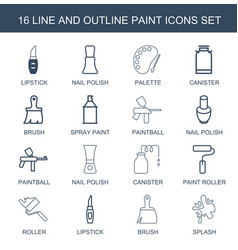 16 paint icons vector image
