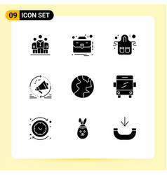 9 universal solid glyph signs symbols vector