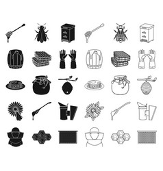 Apiary and beekeeping blackoutline icons in set vector