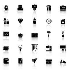 Art and creation icons with reflect on white vector image