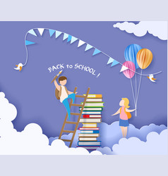 Back to school card kids and books vector