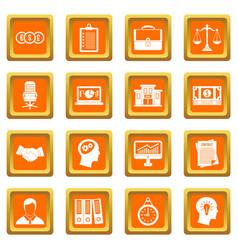 Banking icons set orange vector