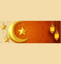 Beautiful islamic event banner with hanging vector