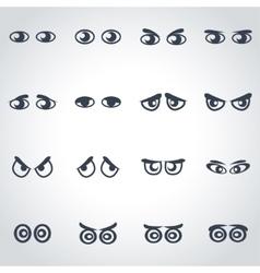 black cartoon eyes icon set vector image