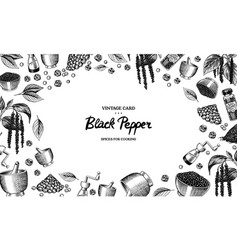 Black pepper background in vintage style mortar vector
