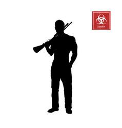 black silhouette man with shotgun vector image