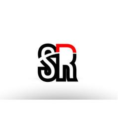 black white alphabet letter sr s r logo icon vector image