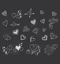blackboard with hearts decoration romantic vector image