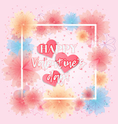 bright floral card with hearts for valentines day vector image