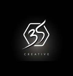 Bs b s brushed letter logo design with creative vector