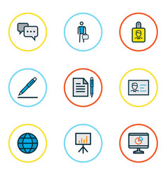 Business icons colored line set with employee vector