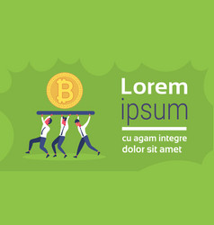 Business people team carry golden bitcoin crypto vector