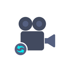 cam camera film movie record refresh icon vector image