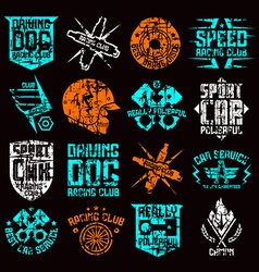 Car and biker culture badges vector image