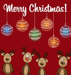 Card Rudolph and other reindeerd with Christmas vector image vector image