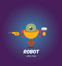 cartoon flat robot or cyborg vector image