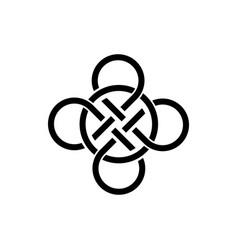 celtic knot interlocked circles logo tattoo icon vector image