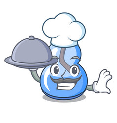 Chef with food alcohol burner mascot cartoon vector
