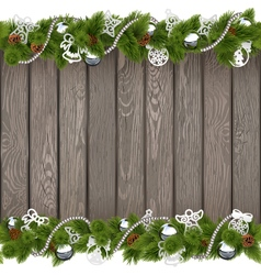 Christmas Old Board with Silver Decorations vector