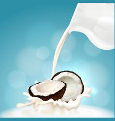 Coconut and milk vector