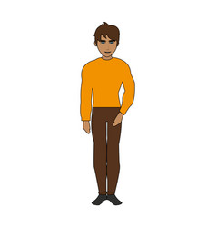 Color image cartoon full body guy atlethic with vector