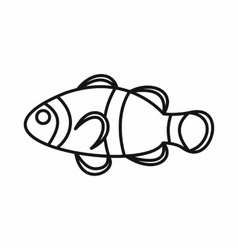 Cute clown fish icon outline style vector image