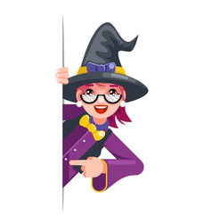 Cute witch cartoon support help consultation vector